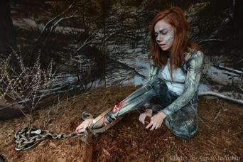 Shannon Kornelsen of Fur-Bearer Defenders in a leg-hold trap. Photo: JMcArthur/WeAnimals