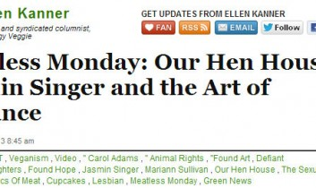 Huff Post Green: Meatless Monday: Our Hen House's Jasmin Singer and the Art of Defiance