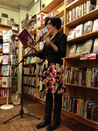 Jasmin at the recent NYC book reading of Defiant Daughters, held at Bluestockings Bookstore.
