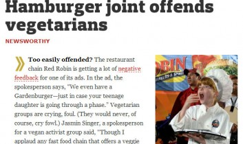 WORLD: Signs and Wonders: Hamburger join offends vegetarians