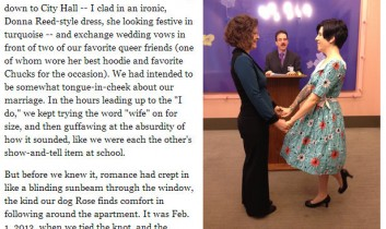 Huffington Post Blog: The Day I Got Gay Married: Trading in Skepticism for Matrimony