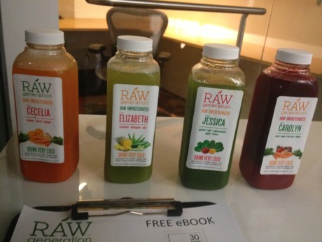 Raw Generation makes delicious juices. They were handing out samples.