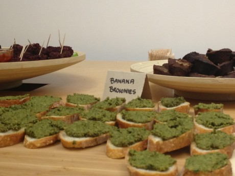 In the front is some of the delicious pesto that was served. In the back were scrumptious and healthy banana brownies.