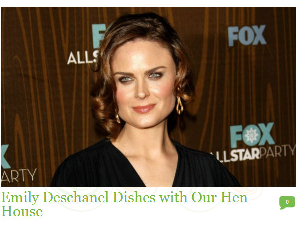 130827 Ecorazzi Emily Deschanel Dishes with Our Hen House