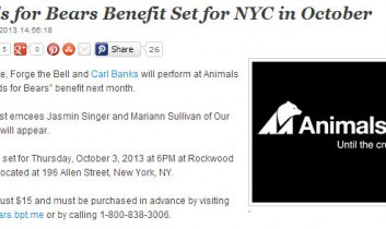 ARTIST direct: Bands for Bears Benefit Set for NYC in October