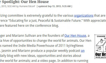 Humane Education Conference: Sponsor Spotlight: Our Hen House