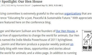 Humane Education Conference: Sponsor Spotlight: Our Hen House