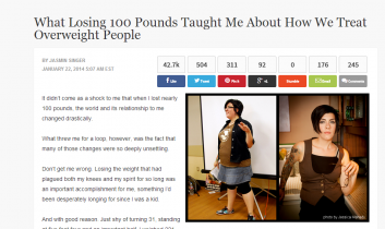 MindBodyGreen: What Losing 100 Pounds Taught Me About How We Treat Overweight People by Jasmin Singer