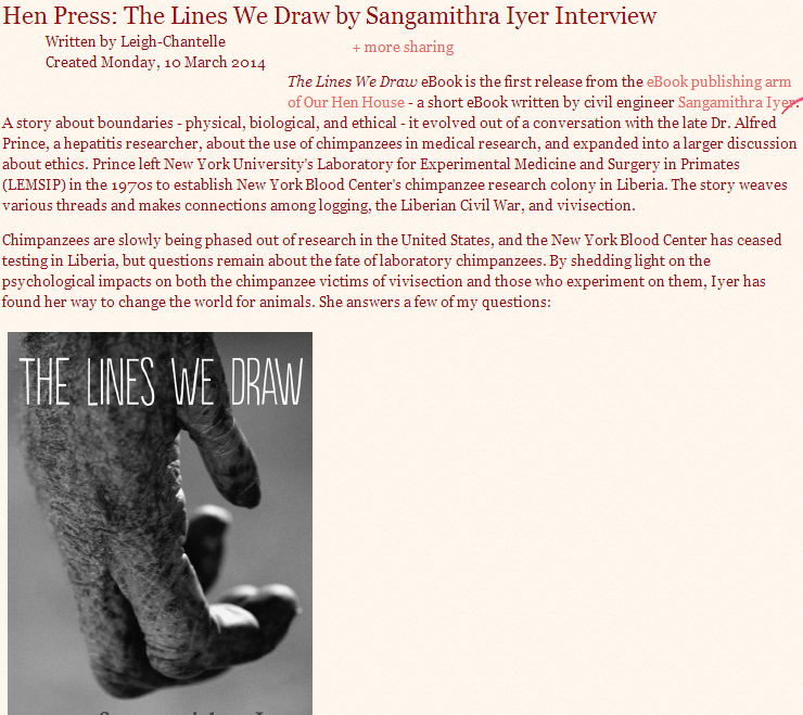 Viva La Vegan!: Hen Press: The Lines We Draw by Sangamithra Iyer Interview