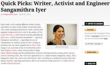 The Aerogram: Quick Picks: Writer, Activist and Engineer Sangamithra Iyer