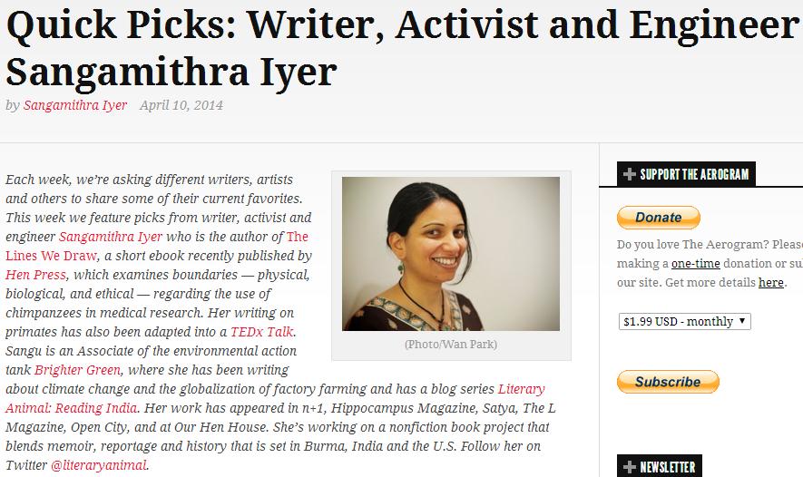 The Aerogram: Quick Picks: Writer, Activist and Engineer Sangamithra Iyer