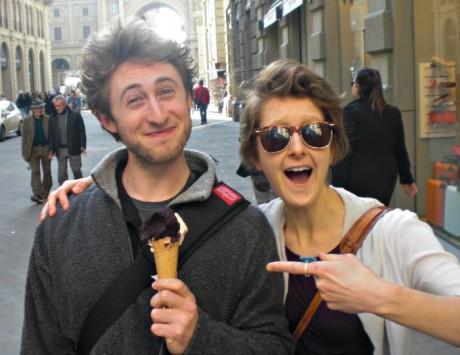 My travel companion Gabe and I celebrating his first ever gelato (vegan blackberry & soy hazelnut).