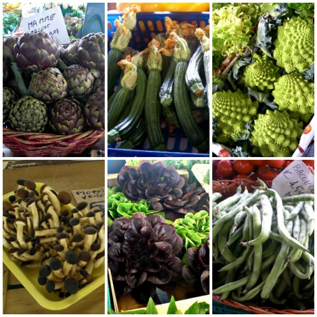 (from top left) globe artichokes, zucchini with blossoms attached, romanesco cauliflower, enoki mushrooms, heirloom lettuce, fava beans--all at the Sant'Ambrogio Market.