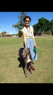 Me with my rescue greyhound Blake