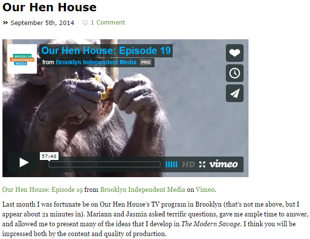 The Pitchfork (James McWilliams): Our Hen House