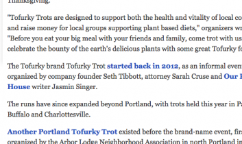 """'Tofurky Trot' offers a meat-free alternative to Thanksgiving Day 'Turkey Trot' runs"" from ""The Oregonian"""