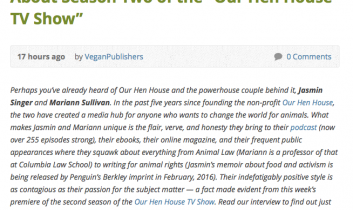 """Find Out Why Everyone is Squawking About Season Two of the 'Our Hen House TV Show'"" from Vegan Publishers"