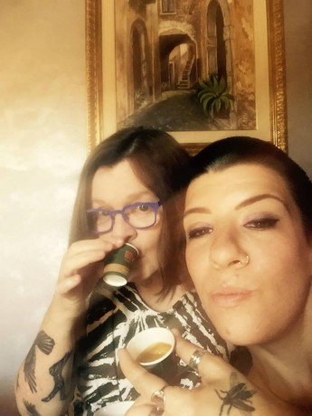 Mariann (left) and Jasmin (right) drinking espresso recently. (We were in Italy, appropriately.)