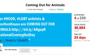 """We Need Your Help! Shed Light On """"Coming Out for Animals"""" On National Coming Out Day! Sign Up!!!"""