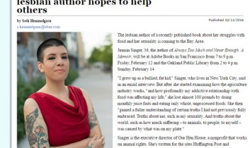 """Through Always Too Much, lesbian author hopes to help others"" from The Bay Area Reporter"