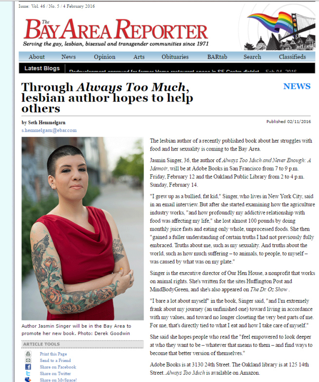 """Bay Area Reporter : """"through always too much lesbian author hopes to help"""
