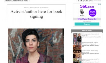 """""""Activist/author here for book signing"""" from the Washington Blade"""