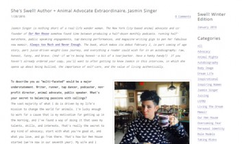 """She's Swell! Author + Animal Advocate Extraordinaire, Jasmin Singer"" from Swell Magazine"
