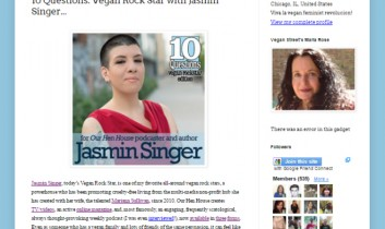 """10 Questions: Vegan Rock Star with Jasmin Singer…"" from The Vegan Street Blog"