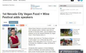 "1st Nevada City Vegan Food + Wine Festival adds speakers — ""The Union"""