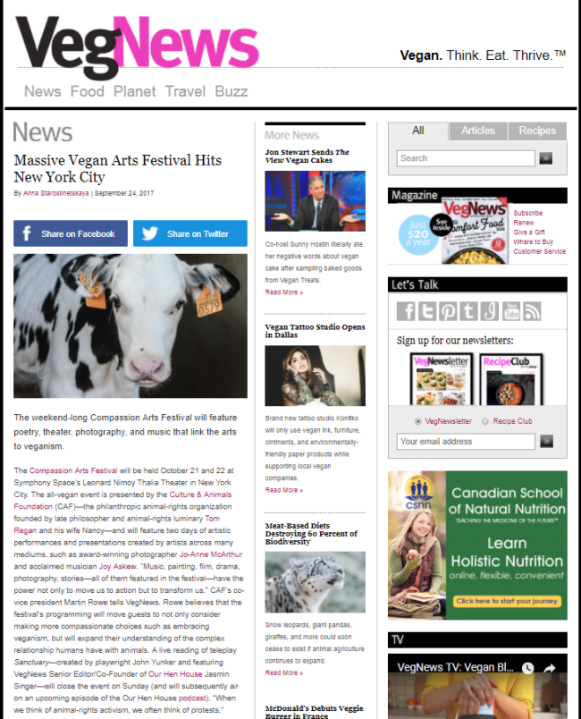 """Massive Vegan Arts Festival Hits New York City"" from VegNews"