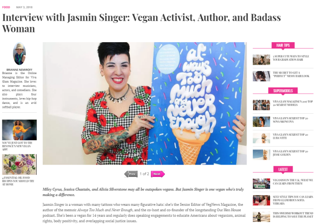 """Interview with Jasmin Singer: Vegan Activist, Author, and Badass Woman"" from Viva Glam Magazine"