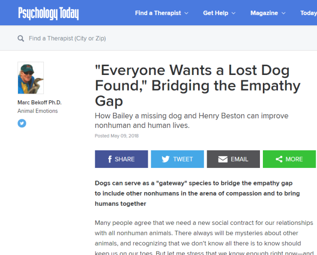 """Everyone Wants a Lost Dog Found, Bridging the Empathy Gap"" from Psychology Today"