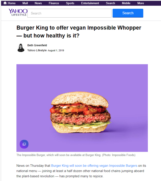 """Burger King to offer vegan Impossible Whopper — but how healthy is it?"" – Yahoo News"