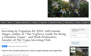 """Investing in Veganism for 2021, with Jasmin Singer, author of The VegNews Guide for Being a Fabulous Vegan"" – Animal Voices Radio/Podcast"